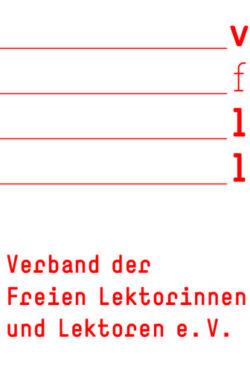Logo des Verbands freier Lektorinnen und Lektoren. Rote Schrift auf weißem Grund
